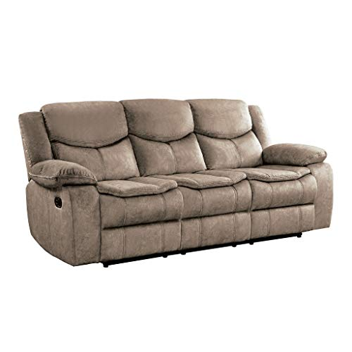 "Homelegance 88"" Manual Reclining Sofa, Brown"