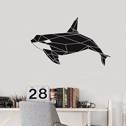 Calcomanía geométrica de la pared de la orca de la ballena asesina, pegatinas artísticas de animales marinos, aulas de oficina, dormitorio infantil, baño, decoración del hogar A8 42x68cm