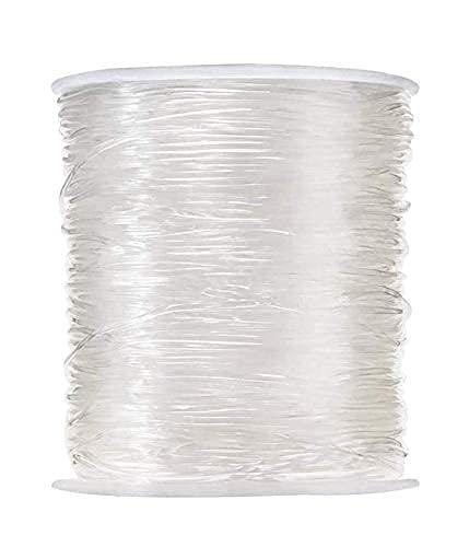 JZZJ Hilo elástico de poliéster, transparente para hacer adornos con abalorio como pulseras y otras manualidades, de 0,8 mm, 100 m