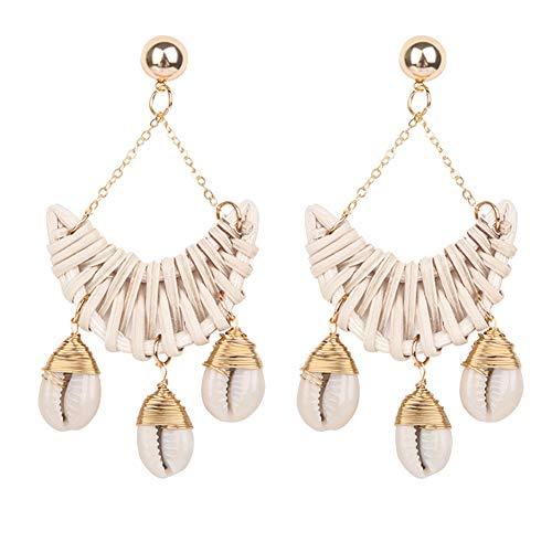 Momangel Boho Style Handgefertigte Damen Rattan-Muschel Mond Form lang baumelnde Ohrringe Geschenk, weiß, 10.5cm x 4.5cm