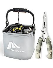 SEAVER(シーバー) 釣り 水汲み バケツ バッカン 22cm 【選べるセット/カラー】プライヤー フィッシュグリップ