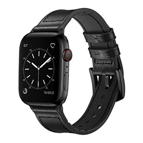 Sichen 2020 El más Nuevo Compatible para Watch Correa 38 mm 40 mm, 42 mm 44 mm, Correa de Cuero de Grano Superior Resistente al Sudor y Correa de Goma híbrida Compatible con iWatch Series 6/5/4/3/2/1