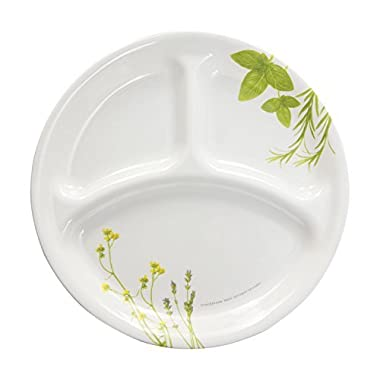 Corelle Livingware European Herbs Dinnerware Family Style 10.25  Divided Plate (Set of 4)