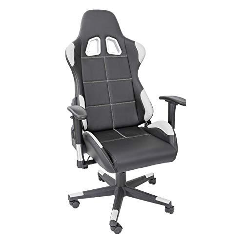 TPFLiving bequemer Premium XL-Gaming Stuhl Fire, belastbar bis 150 kg, Kunstleder, Weiß