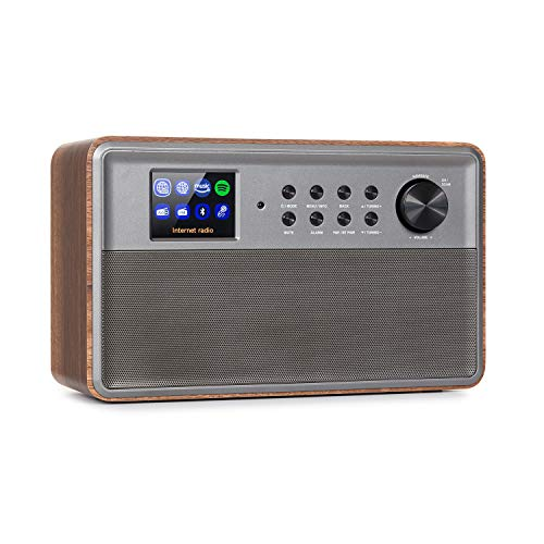 "AUNA Connect Link Smart Radio - Radio Internet, Récepteur Dab + et FM, Spotify Connect, Amazon Music, AUX, Ecran Clair HCC Display 2,4"", Application UNDOK, Bluetooth - Bois"