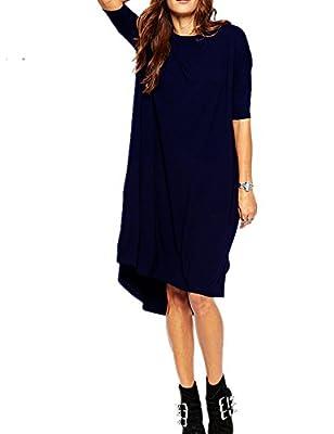 Haola Women's Loose T Shirt Dress Home Short Shirts Mini Dresses Tops M Navy Blue
