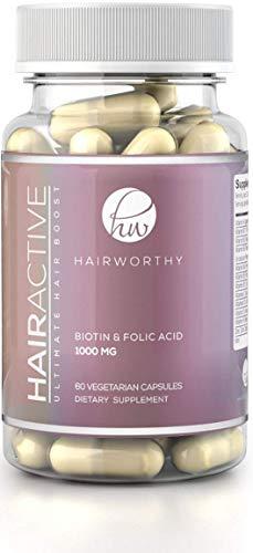 HAIRWORTHY - SCHNELLSTEN Haarwachstums-Vitamine. 4x STÄRKER als normale Haartabletten. 100% natürliche Ergänzung für längere, stärkere und vollere Haare. Mit Biotin, Folsäure und Multivitamin.