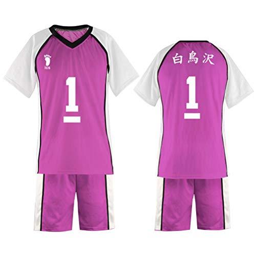 Luminous1128 Haikyuu Shiratorizawa High School Volleyball Club Ushijima Wakatoshi Cosplay, divisa da pallavolo Maglia Manica Corta Top e Pantaloncini 2 pezzi Tuta Sportiva