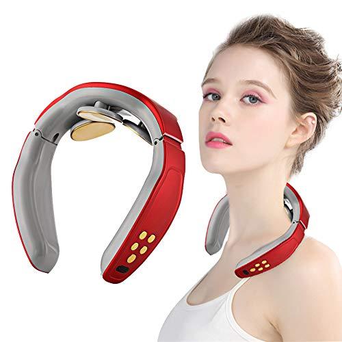 Massaggiatore Cervicale,Massaggiatore Elettrico per Collo,Shiatsu Massaggiatore Elettrico Cervicale,Portatile 3DMassaggiatore per Collo Intelligente,4 modalità,per Uso Domestico in Ufficio (Rosso)