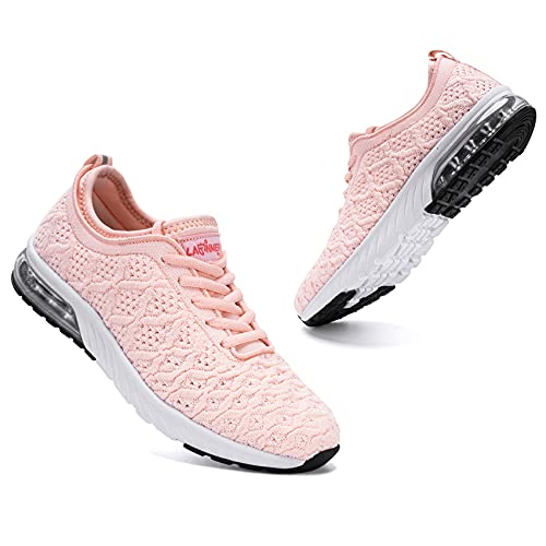 LARNMERN PLUS Fashion Air Cushion Sport Shoes for Women Mesh Knit Casual Arch Support Work Shoes(Light Pink, 7.5)