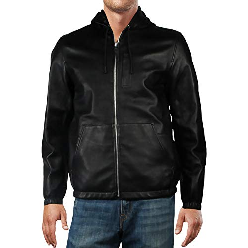 COACH Mens Reversible Hooded Leather Jacket Black 46