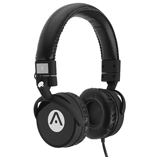 Audiomate A7 Noise-isolating Wired Stereo Extra Bass Foldable Stereo Tangle-Free On-Ear Headphones with Built-in Microphone and Remote 5ft Cable 3.5mm Plug Black