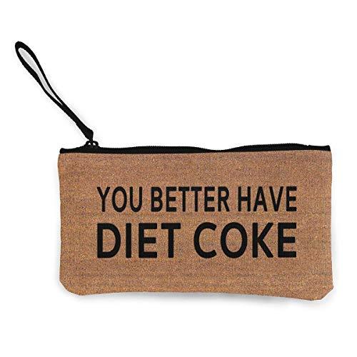 Flyup Mögen Sie Besser Diät Cola Reißverschluss Leinwand Geldbörse Brieftasche, Schminktasche, Handytasche mit Griff
