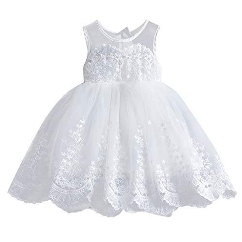 Xingxmei 2-7Y Robe Fleurie Sans Manches En Maille De Dentelle Pour Enfants, Filles Dentelle Ruché Tulle Patchwork Princesse Robes Vêtements