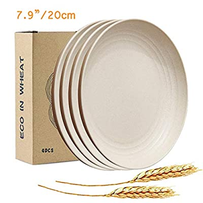 """JUCOXO Lightweight Wheat Straw Plates - 7.9"""" Unbreakable Dinner Plates - Reusable Kids Plate Sets - Dishwasher & Microwave Safe - BPA Free Sturdy Dishes for Children & Toddler"""