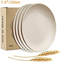 "JUCOXO Lightweight Wheat Straw Plates - 7.9"" Unbreakable Dinner Plates - Reusable Kids Plate Sets - Dishwasher & Microwave Safe - BPA Free Sturdy Dishes for Children & Toddler"