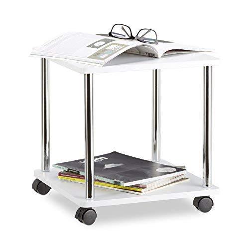 Relaxdays multifunctionele wagen met 4 wielen, salontafel met 2 niveaus, MDF bijzettafel mobiel, rond, hout, wit vierkant 40 x 40 x 41.5 cm wit