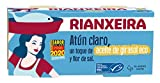 RIANXEIRA. Atún Claro Ligero con un toque de Aceite de Girasol Ecológico y Flor de Sal. Certificación de Pesca Sostenible MSC. Pack de 16 latas x 65g.
