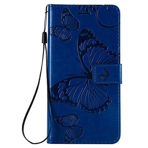 KRjcsfhy Funda para iPhone 13 mini, funda de piel sintética a prueba de golpes, funda protectora magnética de poliuretano termoplástico con ranuras para tarjetas para iPhone 13 mini azul
