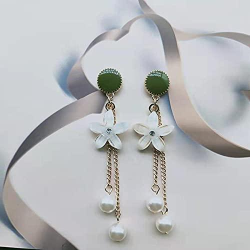 LIEQUAN S925 Pendientes de Aguja de Plata Strive Cristal Cristal Largo PEARLO Flow Soviet FORTRAL Flower Pendientes Moda Simple(Verde)