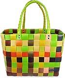 normani Einkaufskorb Shopper geflochten aus Kunststoff - robuster Strandkorb aus wasserabweisendem Material Farbe Classic/Sunflower