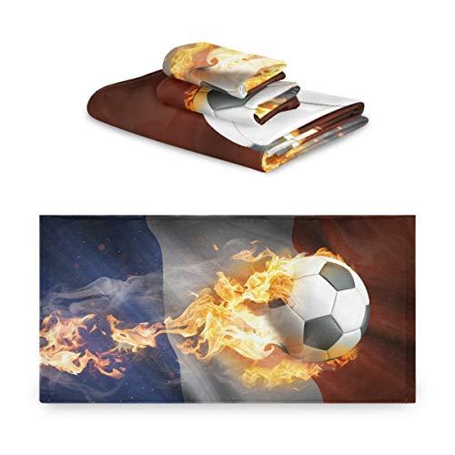 TropicalLife iRoad Baumwolle Handtücher Set 3 Stück Frankreich Flagge Feuer Fußball Hoch saugfähig Gesichtshandtücher Handtücher Badetuch Set für Badezimmer Küche
