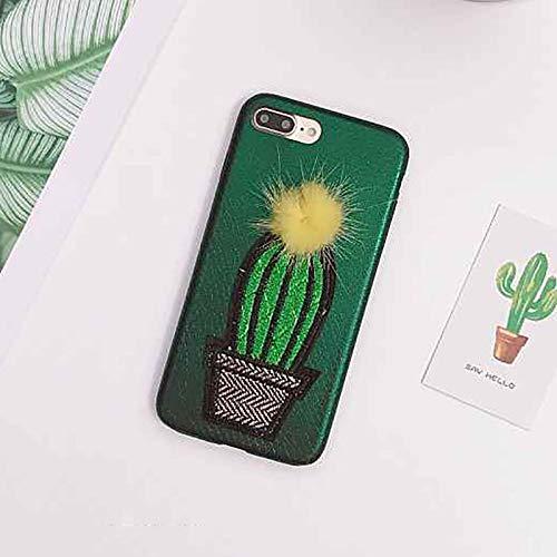 SJKTAO Caja del teléfono móvil Funda De Teléfono Bordada con Forma De Piña para iPhone X 7 7 Plus 8 8Plus 6 6S Plus conCubierta Traseracon Pompón DeBola