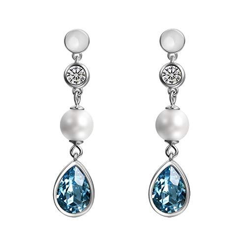 Cupimatch Pendientes de gota de cristal para mujer, plata de ley 925, con cristales Swarovski, color azul