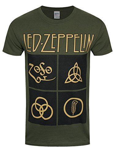 Led Zeppelin Heren Ledzeppelin_Gold Symbools Square_Men_Green_ts: S T-shirt, Zwart (Black Black), Small