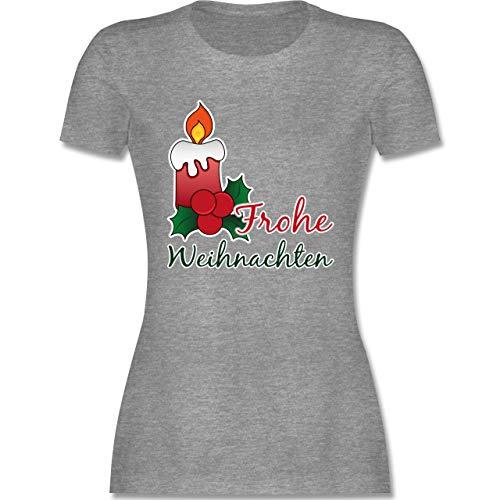 Weihnachten & Silvester - Frohe Weihnachten mit Kerze und Mistelzweig - XXL - Grau meliert - l191_Shirt_Damen - L191 - Tailliertes Tshirt für Damen und Frauen T-Shirt