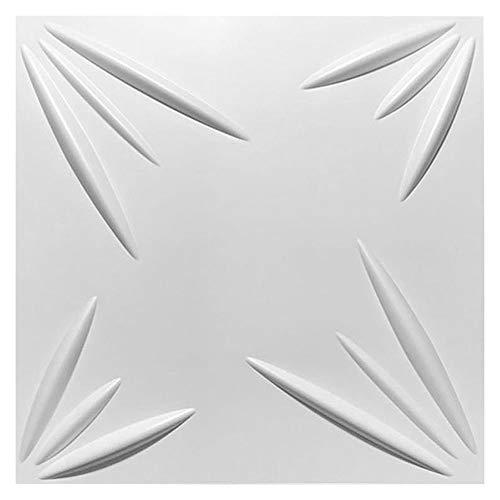 Dekorative 3D Panels Textured Wall Design Brett Pack für Wohnzimmer Schlafzimmer Hintergrund Wanddekoration (10 Fliesen, weiß)