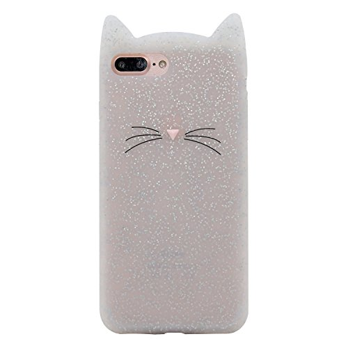 Samsung Galaxy S9 Case, Maoerdo Cute 3D Cartoon White Whisker Cat Lucky Fortune Cat Kitty Silicone Rubber Phone Case Cover for Samsung Galaxy S9 (5.8 inch)