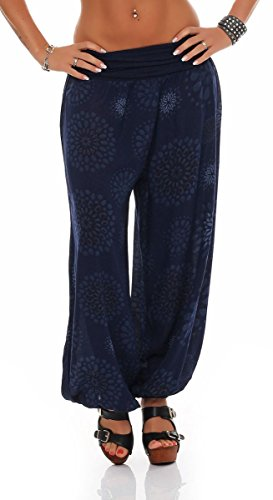 Malito Damen Pumphose mit Print | Haremshose zum Tanzen | Aladinhose zum Chillen - Freizeithose – Pluderhose 7181 (dunkelblau)