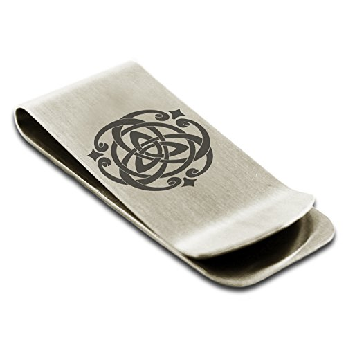 Stainless Steel Celtic Triquetra Heart Knot Symbol Money Clip Credit Card Holder