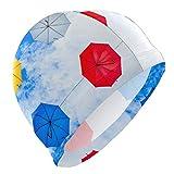 Tcerlcir Gorro Natación Las Nubes con Paraguas de Colores Gorro de Piscina para Hombre y Mujer Hecho de Silicona Ideal para Pelo Largo y Corto