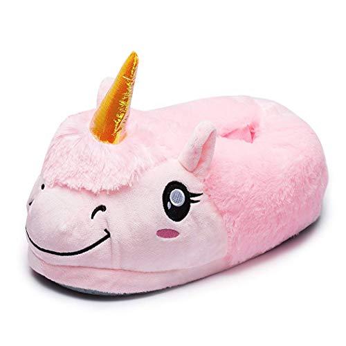 Pantofole Peluche Ciabatte Unicorni Animali Kigurumi Unisex Adulto Scarpe Adorabili Cosplay Halloween Costume Attrezzatura Unicorno Numero Universale (Rosa-3)