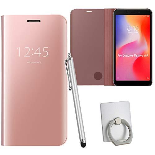 Guran® Mirror Efecto Espejo Funda para Xiaomi Redmi 6A Clear View Función de Soporte Plegable Smartphone Funda Protectora (Oro Rosa)