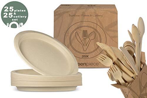 greenpiece ® 25 Bambus Fiber Teller 25cm + 25 Bambus Besteck-Set | Extra Stark | Keine Plastikverpackungen | Einweg | Umweltfreundlich | Biologisch abbaubar | Picnic, BBQ & Grillen, Camping