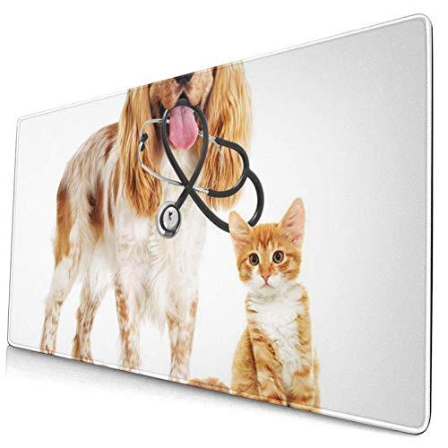 Gaming-Mauspad, Premium-strukturierte Mauspad-Pads, niedliches Mousepad für Spieler, Büro- und Heimbraune erwachsene Hunde- und Katzentierarzt-Stethoskop-Brillen Tier