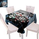 Decoraciones para Torneos de Poker Mantel Cuadrado a prueba de agua con fichas de juego y par de cartas Ases Casino Apuestas Juegos Peligro Sin Arrugas,63 x 63' Multicolor