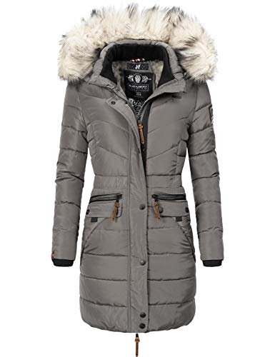 Navahoo Damen Winter Mantel Steppmantel Paula (vegan hergestellt) Grau Gr. XXL