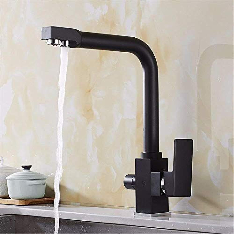 Oudan Kitchen Bath Basin Sink Mischbatterie Wasserhahn Schwarz Spülbecken Wasserhahn Wasserreiniger Massivmessing Reiner Wasserspender Spülen Oben Heies und kaltes Wasser Wasserhahn