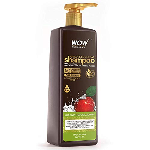 WOW! EZ FINISHES Skin Science Apple Cider Vinegar Shampoo - Restores Shine and Smoothness - No Parabens,Sulphates and Silicones - 1L,33.81 Fl Oz (Pack of 1)