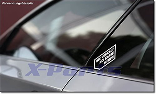 Aufkleber NIX VERKAUF NIX KARTE MEINS! in WEISS 2 STÜCK FUN Autohändler Sticker