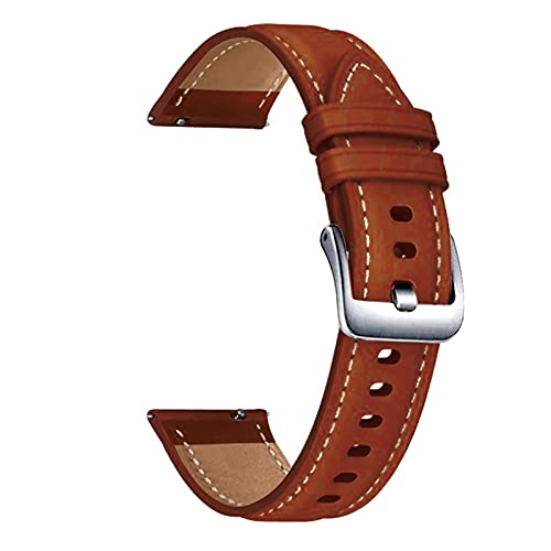 WWXFCA Correa de piel auténtica para Samsung Galaxy Watch 3 de 45 mm, 22 mm, para Galaxy Watch 46 mm (color de la correa: marrón, plata, ancho de la correa: 22 mm)