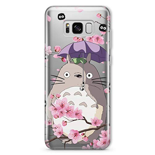 My Neighbor Totoro Soot Sprite Phone Case Anime for Samsung Galaxy Note 20 S20 Ultra S10 5G S9 S8 Note 10 Plus S10e Note 9 8 S7 S6 Edge Sakura Cherry Blossom Tree Spirited Away Gifts Clear Cover