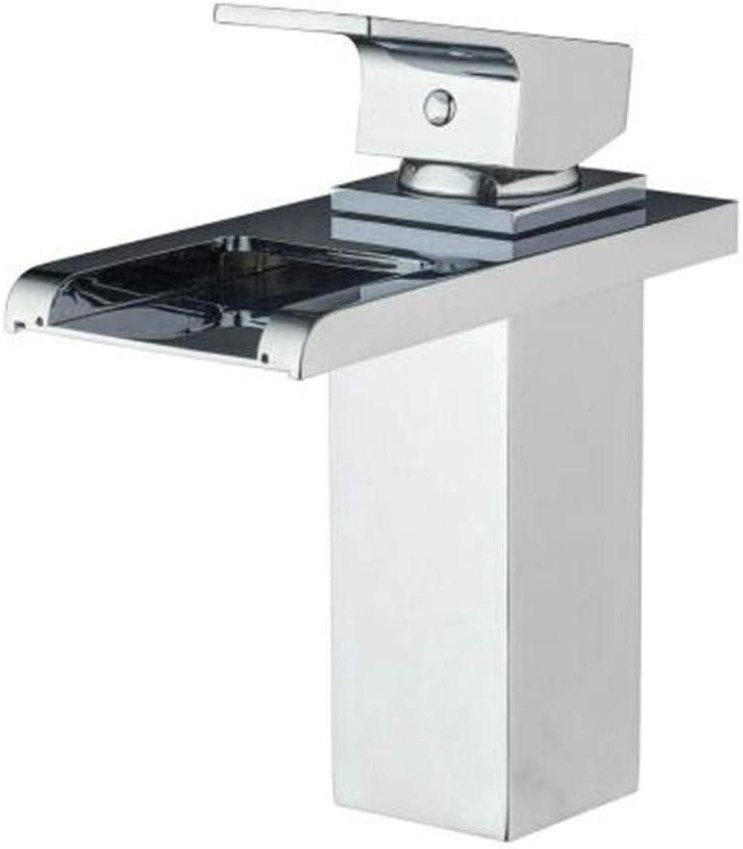 Basin Taps Swivel Spout Faucet Faucet Hot and Cold Taps Brass Bathroom Waterfall Spout Chrome Deck Mount Single Handle Sink Faucets