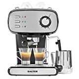Salter EK4369 Caffé Barista Pro Espresso Maker | 15-Bar Pressure Pump | Makes 2 Cups at Once | Includes Milk Frothing Wand | Durable Stainless Steel Filter, 1.2 liters, Black