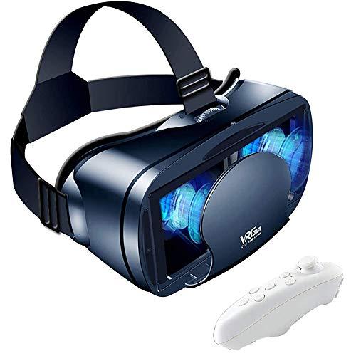JIUTAI Auriculares VR con controlador, gafas VR compatibles con iPhone 4.7-6.53 y teléfono Android, auriculares de realidad virtual 3D HD
