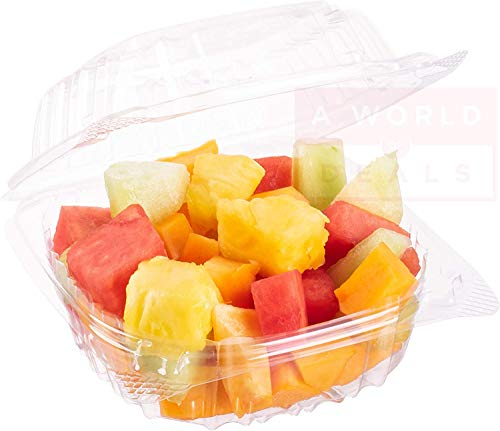 Clear Hinged Plastic Containers 5 x 5 Inch [50 Pack] Dessert Containers - Plastic Hinged Food Container - Disposable Plastic Togo Boxes with Lids for Home, Bakery, and Food Business, Single Compartment Clamshell Take Out Containers for Cake, Pastry, Salad.